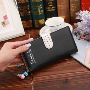 Korean Style Cute Spots Zipper PU Leather Wallet for iPhone 7 Plus, Size: 19x9x2.5cm - Black
