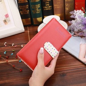 Cute Spots Korean Style Zipper PU Leather Wallet Pouch for iPhone 7 Plus, Size: 19x9x2.5cm - Red