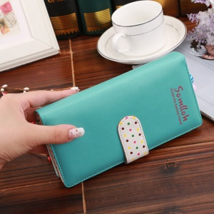 Korean Style Cute Spots Multifunctional Zipper PU Leather Purse for iPhone 7 Plus, Size: 19x9x2.5cm - Green