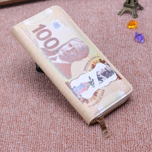 Pattern Printing Zipper Leather Wallet Phone Pouch Handbag for Women - 100 Canadian Dollars