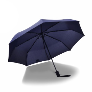 Lightweight One Button Automatic Folding Travel Umbrella for Men and Women - Dark Blue