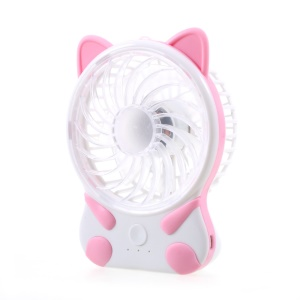 ZW-268 Mini Cat Shaped Silicone Fan USB Rechargeable with 3 Speeds - Pink