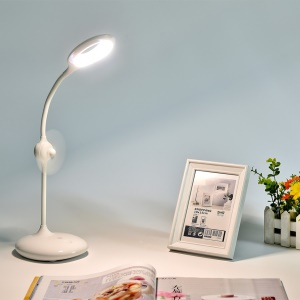 Eye Protection Dimmable LED Desk Lamp 360 Degree Rotary Table Lamp with Min Fan - White
