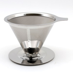Stainless Steel Reusable Drip Cone Coffee Filter, Diameter: 125mm