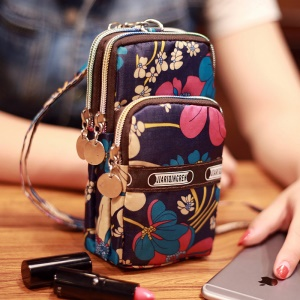 Waterproof Sports Oxford Cloth Wrist Bag Handbag for 5.5-inch Smartphone - Colorized Flowers