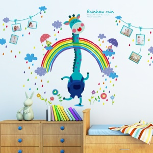 Cartoon Giraffe Rainbow Bedroom Wall Decal Sticker Removable Home Decoration Sticker, Size: 60 x 90cm