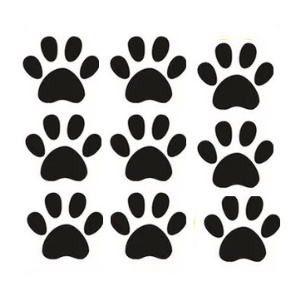 24Pcs/Set Paw Prints Peel and Stick Wall Decals for Kindergarten Classroom, Home Decor - Black