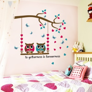 Owls Pattern Removable Home Decoration Sticker Bedroom Wall Decal Sticker, Size: 30 x 60cm