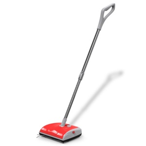 Household Hand Push Extendable Cordless Two-wheeled Electric Sweeper Broom - Red / EU Plug