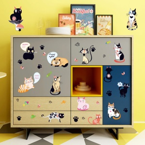 Cartoon Cat Pattern Removable DIY Decal Wall Stickers Home Decoration, Size: 50 x 70cm