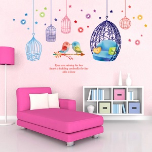 Cages and Birds Removable PVC Wall Stickers Living Room Decal, Size: 50 x 70cm