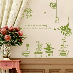 Pot Plants Pattern Wall Stickers Removable Decal Home Decor DIY Art Decoration, Size: 40 x 60cm