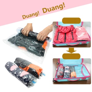 10Pcs/Set Travel Space Saver Bags Roll-Up Compression Storage Packing Organizers (No Vacuum Needed), Size: 35x50cm
