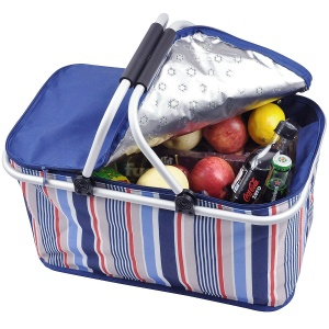 32L Foldable BBQ Meat Drinks Food Insulated Picnic Basket for Outdoor Camping Use - Blue