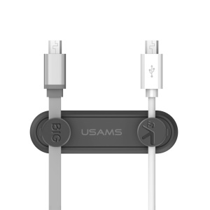 USAMS US-ZB020 Adhesive Magnetic Cable Organizer for 2.5/3/3.5mm Flat Earphone USB Cables - Dark Grey