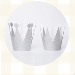 Shimmering Powder 3PCS Princess Crown + 3PCS Prince Crown Hats Birthday Crowns for Kid and Adult - Silver