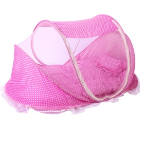 Baby Portable Folding Mosquito Net with Cotton-padded Mattress and Pillow - Pink