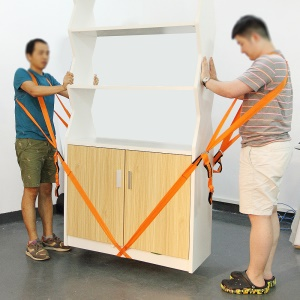 2 Pieces Thick Shoulder Lifting and Moving Straps for Carrying Furniture, Appliances, Mattresses etc. Length: 2.7m - Orange