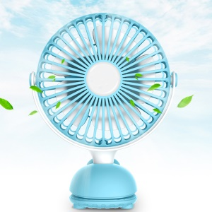 Mini USB Rechargeable Small Table Fan with Cute Whale Shape Clip for Hot Summer - Blue