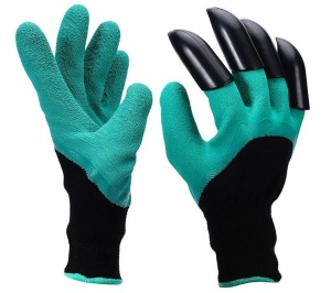 1 Pair Safe Garden Genie Gloves for Digging & Planting (Claws on Both Hands)