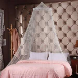 Round Hoop Mosquito Net with Lace, Size: 60 x 260 x 850cm - White
