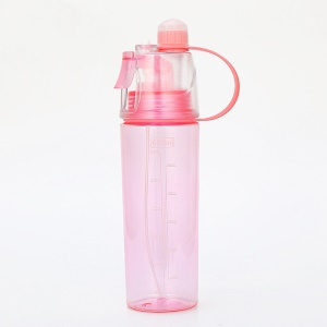 600ml Sports Spray Water Bottle Portable Insulated Leak Proof Plastic Drink Bottle with Spray Mist - Pink