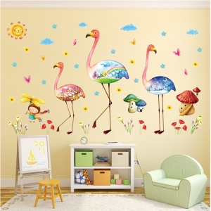 Colorized Swan and Mushroom Removable Wall Sticker Decal Playroom Bedroom Decoration