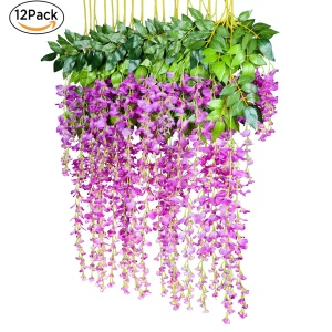 Artificial silk wisteria vine ratta silk hanging flower wedding white pink green blue rose purple mightylinksfo