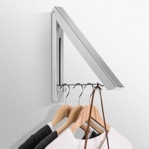 Single Portable Adjustable Wall Mounted Aluminum Organizer Stand Retractable Folding Clothes Hanger Rack
