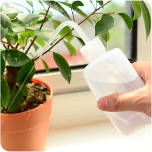 Plastic Squeeze Type Watering Bottle Plastic Bend Mouth Watering Cans for Plant Flower Succulent 2pcs ( 500ml +250ml)