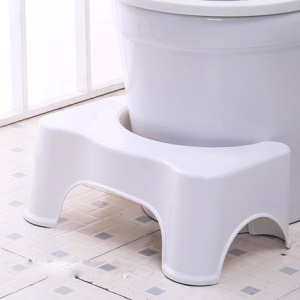 Bathroom Toilet Stool Ergonomic Step Squatting Stool Fits All Toilets - White