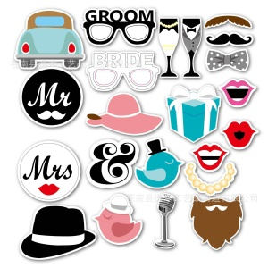 22PCS Photo Booth Props Car Wineglass Glasses DIY Kit for Wedding Birthday Christmas