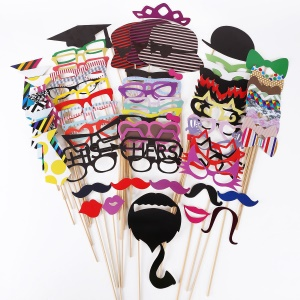 76PCS Photo Booth Props Bowknot Mustache Glasses DIY Kit for Wedding Birthday Christmas