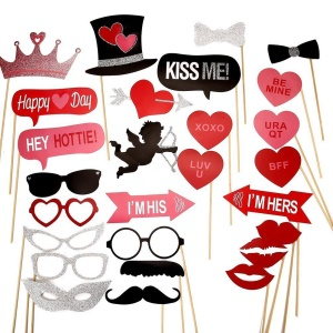 27PCS Photo Booth Props Mustache Heart Crown DIY Kit for Wedding Birthday Christmas