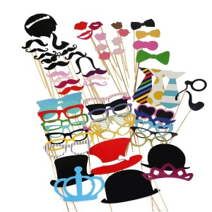 60PCS Photo Booth Props Mustache Glasses Crown DIY Kit pour mariage Anniversaire Noël