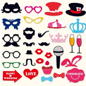 31PCS DIY Photo Booth Props with Mustache Glasses Hats for Wedding Birthday Christmas Party