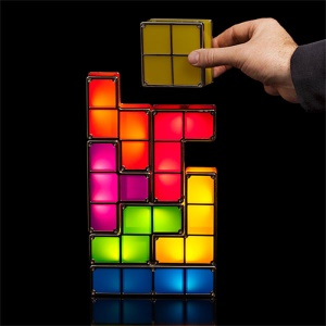 Retro Game Style Tetris Puzzle Lamp DIY Night Light Decorative Table Lamp Powered By Rechargeable Battery