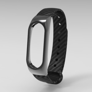 Carbon Fiber Strap and Metal Shell Bracelet Replacement for Xiaomi Mi Band 2 - Black