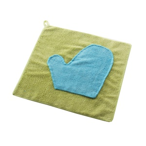 Microfiber Quick Absorbing Easily Remove Dust  Contrast Color Glove Cleaning Cloth - Green