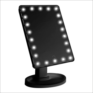 Women's Touch Control LED Cosmetic Mirror with Organizer Stand - Black