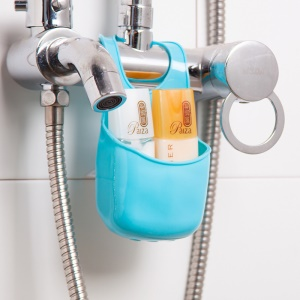 PVC Sink Hanging Storage Bag Basket Mini Sponge Organizer Container Box for Kitchen Bathroom - Blue