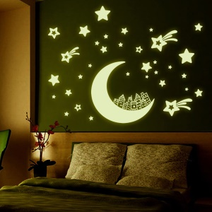Moon House Stars Noctilucent Wall Sticker Decal Playroom Quarto Sala de estar Decoração