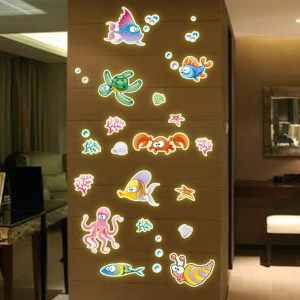 Colorful Sea World Noctilucent Wall Sticker Decal Playroom Bedroom Livingroom Decoration