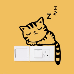 Creative Cartoon Sleepy Cat Switch Sticker Switch Notebook Decor Environmental Wall Decal, Size: 20 x 14cm - Black