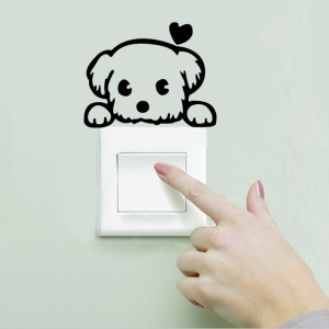 Creative Cartoon Dog Switch Etiqueta Switch Decoración portátil Decalque de pared ambiental - Negro