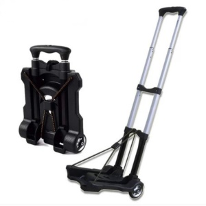 Aluminum Alloy Folding Shopping Cart Portable Telescopic Hand Truck Push and Haul Trolley - Black
