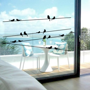 Birds in Telegraph Pole Pattern Removable Home Decoration Sticker Wall Decal Sticker, Size: 58 x 33cm