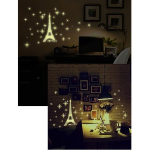 Y0034 Creative Eiffel Tower Noctilucent Waterproof Wall Sticker Decal Playroom Bedroom Living Room Decoration