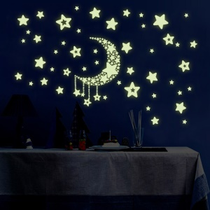 Colorful Moon Stars Noctilucent Sticker Window Furniture Decal Playroom Chambre Décoration de salon