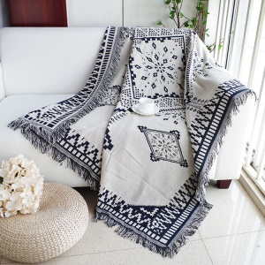 Cotton Thread Sofa Cover Throw with Tassels 130 x 180cm - Big Rhombus